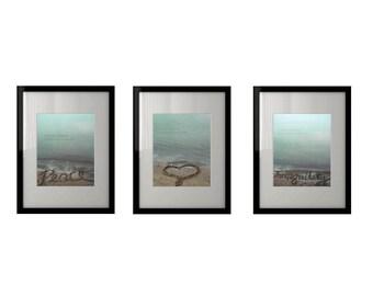 Set of 3 - Beach Photography - Peace Love Tranquility Wall Decor - Fine Art Photography Print, Neutral, Teal, Sand, Serene