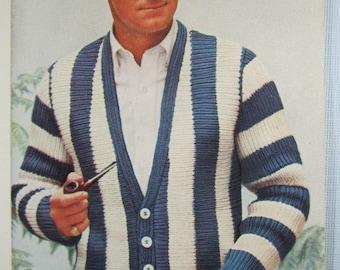 Knit Men's Cardigan Sweater Pattern - 1950's Vintage Pattern, Men's Cardigan PDF Pattern KIY2
