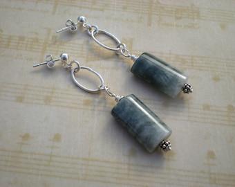 Eagle eye jasper stone earrings, sterling silver post