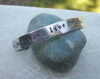 You Pick The Stamping - Custom Desgned Cuff - Hand Stamped 3/8 Inch Aluminum Cuff Bracelet
