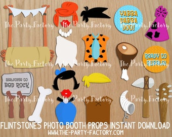 Flintstones Photo Booth props instant download, PDF File, Digital Props, Printables, Party Printables
