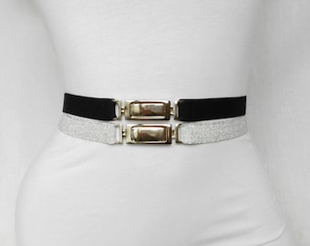 SALE Black and Silver Stretch belt womens belt Skinny elastic waist belt Waist cincher Statement accessory simple cinch belt