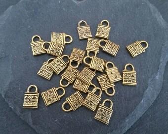 DESTASH 20 gold padlock charms 12mm x 8mm