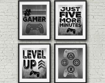 """SET OF FOUR Video Game Posters - Grey Black - 8x10""""- A4 - Playstation Controller - PS4 - Gamer - Teen boy bedroom - game room wall art - PS4"""