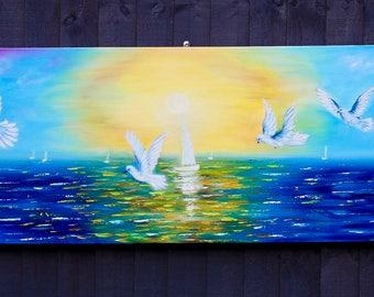 Seascape painting,textured original sailboats painting, birds painting