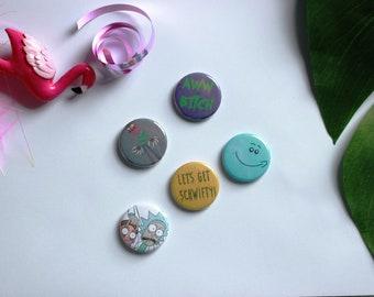 Set Of 5 Rick and Morty Pin Badges