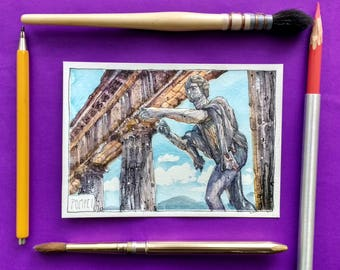 Beautiful Watercolor Painting! ITALY, Naples - Pompei, Postcard size
