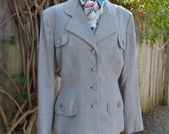 Vintage 1950s Tailored Grey Suit Jacket with Flap Pockets