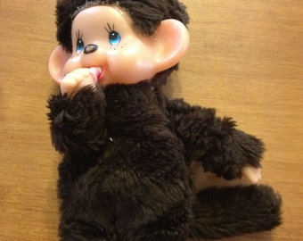 Vintage Monchichi 1974 Little Monkey STUFFED Toy Brown