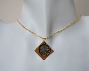 Brass Clock Charm Necklace Set