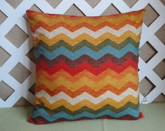 Zigzag Pillow Cover in Blue Orange Gold and Brown / Chevron Pillow Cover / Decorative Pillow / Accent Pillow / 18 x 18 Pillow