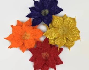 Flower brooch, lapel pin, corsage, fashion accessory, wet felted, merino wool