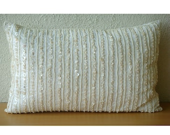 Decorative Oblong / Lumbar Throw Pillow Covers Accent Pillows Couch 12x16 Inch Silk Pillow Cover Pearl Embroidered Home - Pearl Harbour