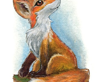 Red Fox Print, Woodland Nursery Forest Decor, Wildlife Wall Art, Baby Animal Lover Gift, ACEO Art Card, Nature Poster, Custom Size