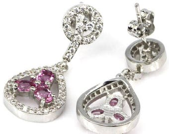 Sterling Silver Petite  Pink Tourmaline Gemstone Drop Dangle Earrings With AAA Cz Accents