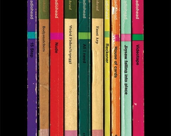 Radiohead 'In Rainbows' Album As Books Poster Print, Music Poster, Penguin Books, Home Decor, Wall Art