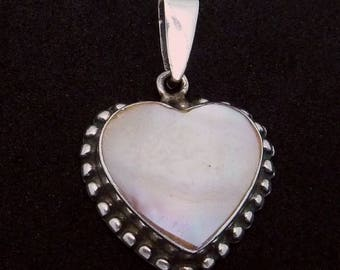 Vintage Sterling Silver MOP Beaded Heart Pendant 23495
