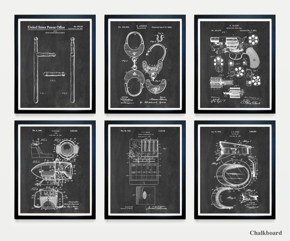 Police Patent Art - Police Poster - Policeman - Police Officer - Police Wall Art - Handcuffs Patent - Revolver - Baton - Police Art - Cop