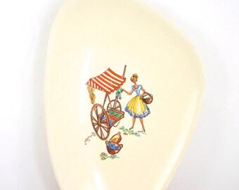 Small Ceramic Decorative Dish Triangle Plate Triangle Dish Triangular German Ceramics
