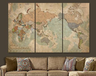 Map of the World with Countries on CANVAS, World Map Canvas art, Large Canvas Map, AFRICA LEFT, Gifts for Travelers, Travel Gifts