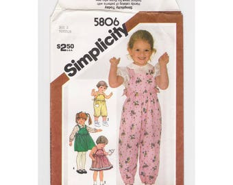 "Vintage Simplicity children's sewing pattern #5806, ""Toddlers' Overalls in Two Lengths, and Jumper or Sundress in Two Lengths"", size 3..."