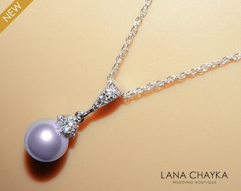 Lavender Drop Pearl Necklace Lilac Pearl Small Necklace Swarovski 8mm Pearl Sterling Silver Wedding Necklace Lavender Lilac Pearl Jewelry