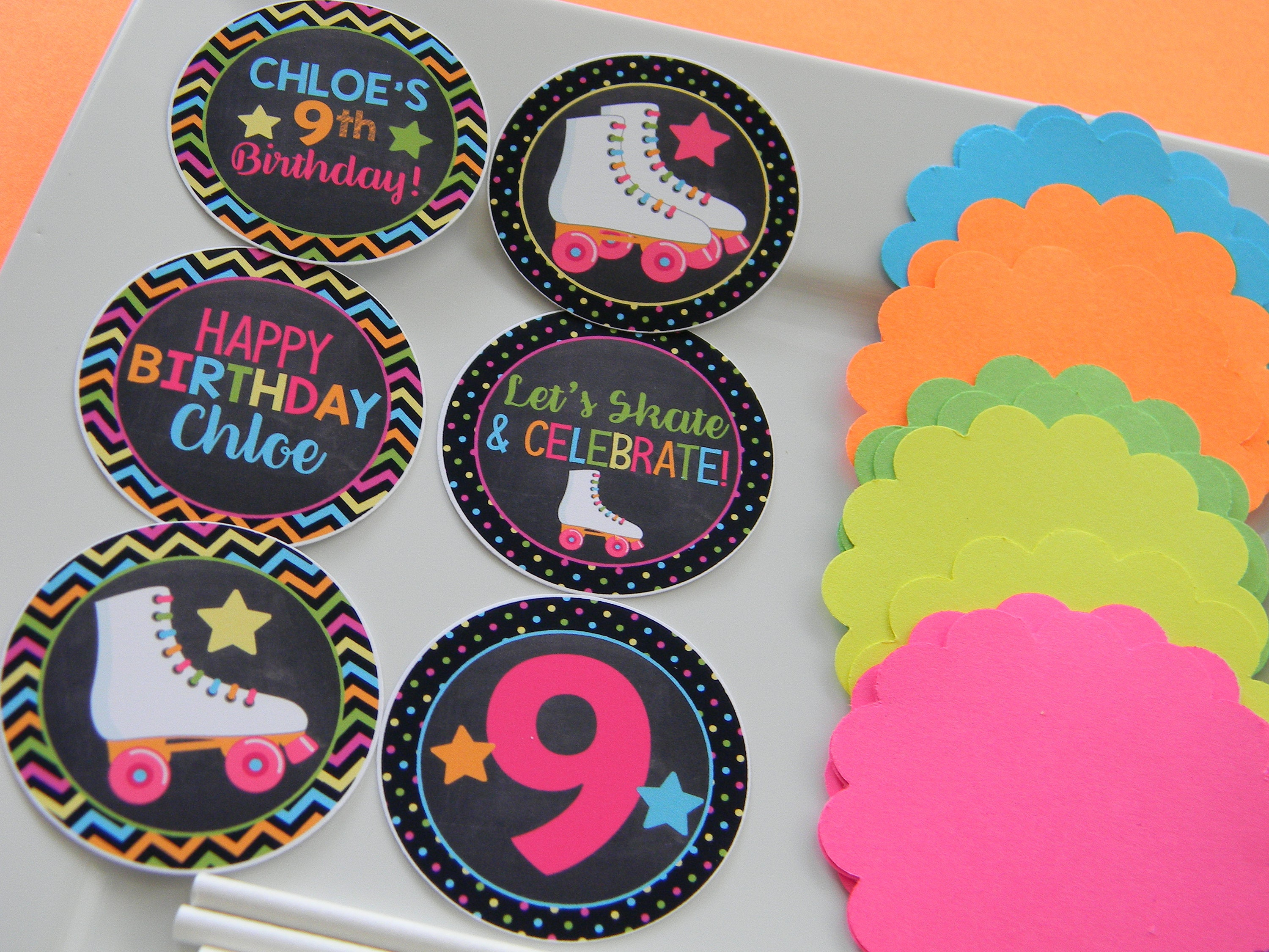 Neon skate cupcake toppers neon skate diy cupcake topper kit zoom solutioingenieria Image collections