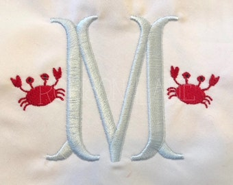 Mini crab machine embroidery design