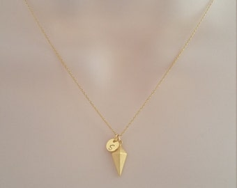 Gold Kite Necklace, Modern And Simple Necklace, Gold Jewelry, Personalized Initial Disc, Everyday Wear