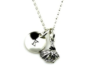 TINY BETTA FISH Initial Necklace in Sterling Silver *