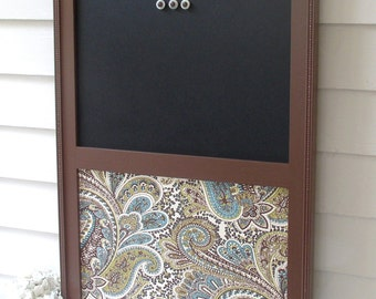 Magnetic Organizer Half Magnetic Chalkboard Fabric Magnet Board 20.5 x 26.5 Office Board Brown Paisley Bulletin Board Dry Erase