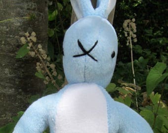 Pale Blue Rabbit Toy Fleece Bunny Ornamental Toy New Baby Shower Gift Kid's Room Decoration Adoption Present Introduction Gift Cuddly Bunny