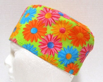 Scrub Hat, Surgical Cap or Chemo Cap Bright, Multi Colored Daisies