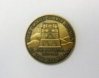 Masonic medal token coin. North Carolina Assembly of Grand York Rite Masons.
