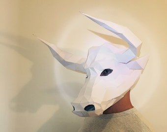 Make Your Minotaur Bull Mask from paper, PDF pattern mask, Polygon Face DIY Paper Mask, Papercraft, Party Animal