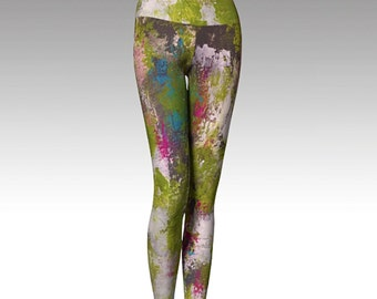 Printed Leggings, Green Leggings Modern Leggings, Yoga Pants, Yoga Leggings, Women's Leggings, Wearable Art, Gift for her
