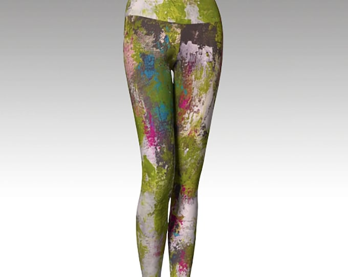 Printed Leggings, Yoga Pants, Yoga Leggings, Green Leggings Modern Leggings, Women's Leggings, Wearable Art, Gift for her