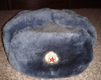 Russian soviet army military officer winter fur hat