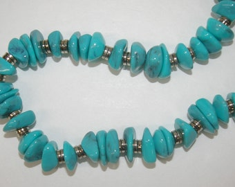 Turquoise Color Necklace with silver tone spacers Vintage 1970's