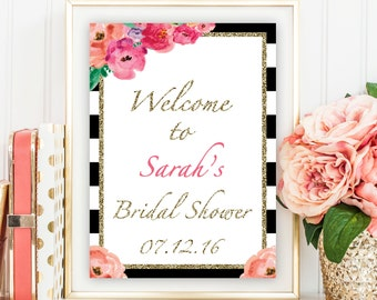 Bridal Shower Welcome Sign, Stripe Bridal Shower Welcome Sign, Flower Bridal Shower Welcome Sign, Printable Bridal Shower Welcome Sign,