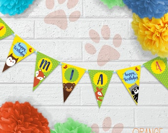 Personalised Childrens WOODLAND Fox Raccoon Bear Owl Birthday Party Banner Stationary