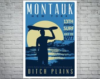 Montauk Ditch Plains Retro Vintage Surf Screen Print Poster