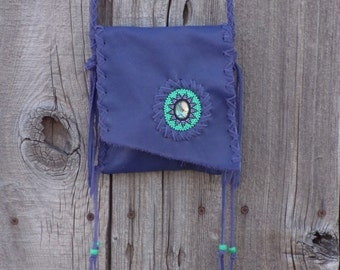 Purple leather purse, beaded purple bag, purple leather bag, abalone beaded mandala, special gift bag , kawaii style bag
