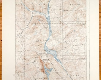 Antique Long Lake & Umsaskis Lake, Maine 1935 US Geological Survey Topographic Map – Aroostook County, Allagash River, Grey Brook Mountain