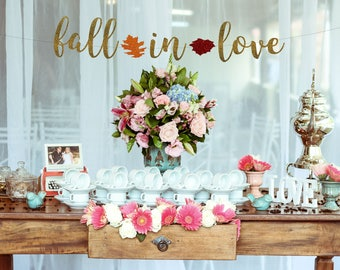 Fall in Love banner, fall bridal shower, fall banner, fall in love, fall wedding, weddings, glitter banners, Bridal shower decoration
