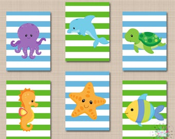 Sea Animals Nursery Wall Art Sea Animals Nursery Decor Under the Sea Nursery Wall Art Octopus Turtle Whale Fish Sea Horse  UNFRAMED 6 B131