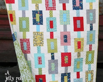 Off Track Quilt Pattern by Cluck Cluck Sew - Jelly Roll Pattern in 3 Sizes - Fun Great Beginner Quilt (W2)