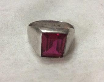 Herren Silber signiert Vargas-Turmalin-Stein-Größe 12-Ring.