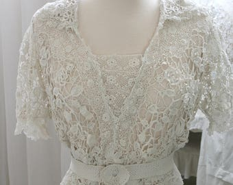 Exsquisite Antique Irish Lace Edwardian Blouse, crochet, Gibson Girl, 1900, 1910, vintage,