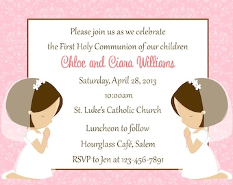 First Communion Invitation - Twins  (Digital File) / Girls First Communion Invitation / Twin Girls First Communion / Two Girls Communion
